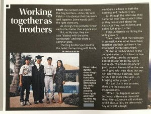 Article in the magazine about Ong Brothers, Artus Ong